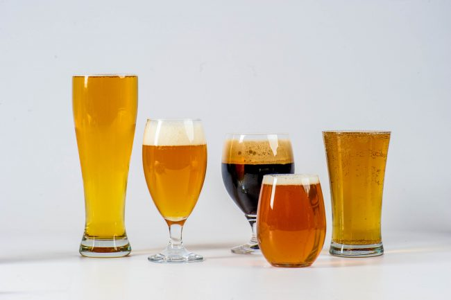Beer glasses on a white background in Dallas, TX