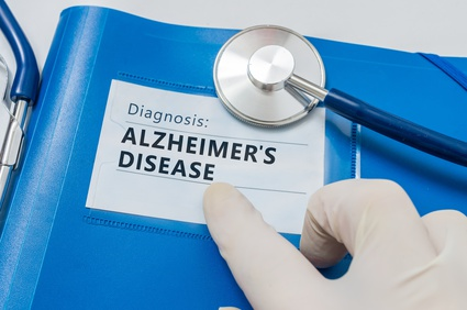 Blue folder with Alzheimer's disease diagnosis